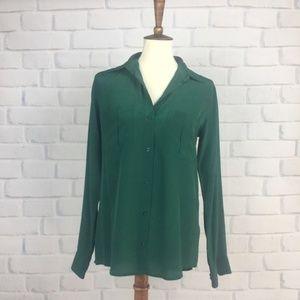 Club Monaco Top Green Silk Top Button Up